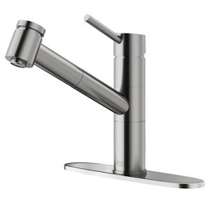 VIGO Branson Pull-Out Spray Kitchen Faucet With Deck Plate