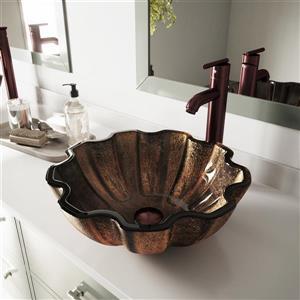 VIGO Walnut Glass Vessel Bathroom Sink - Multicoloured