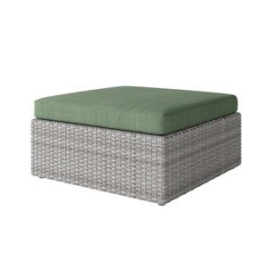 "CorLiving Resin Wicker Patio Ottoman - Grey / Sage Green - 32"" x 32"""