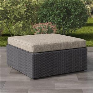 CorLiving Wicker Patio Ottoman - Charcoal Grey/Mushroom Grey - 32""