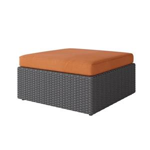 CorLiving Wicker Patio Ottoman - Charcoal Grey / Autumn Orange - 32""