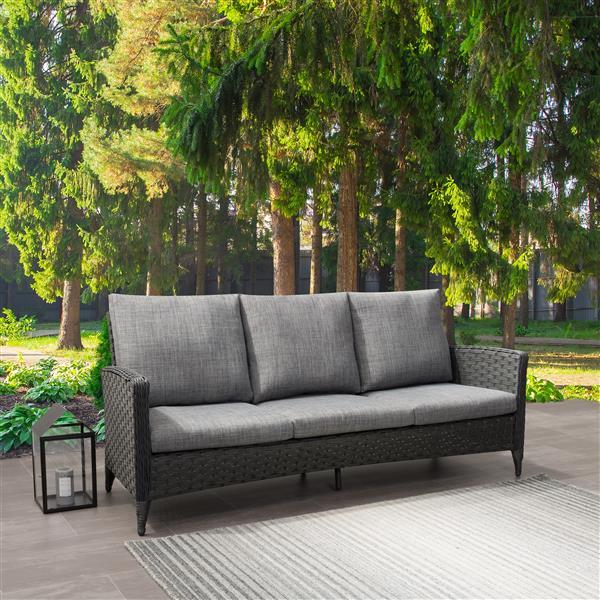 Corliving Rattan Patio Sofa Charcoal, Grey Rattan Garden Furniture With Blue Cushions