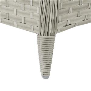 "CorLiving Rattan Patio Foot Stool - Grey - 23"" x 29"""