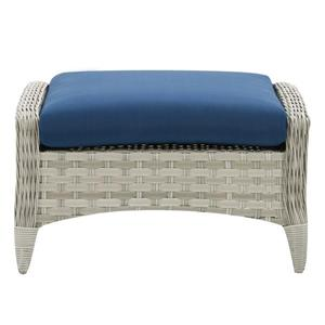 CorLiving Rattan Patio Foot Stool - Grey/Blue cushion - 29""