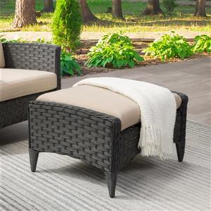 CorLiving Rattan Patio Foot Stool - Charcoal / Beige - 29""
