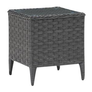 Corliving Rattan Square Patio End Table With Glass Table