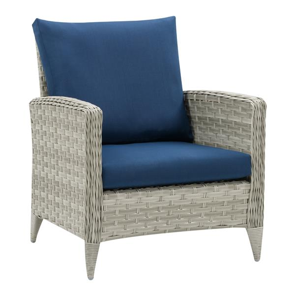 Corliving Wicker Patio Chair Blended, Grey Rattan Garden Furniture With Blue Cushions