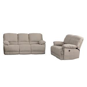 CorLiving Recliner Sofa Chenille Fabric Power - Set 2pc - Beige