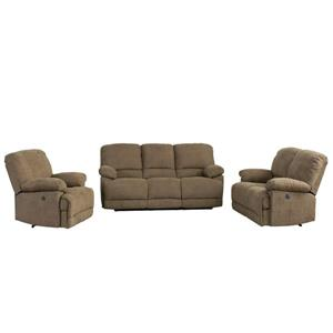 CorLiving Chenille Fabric Power Recliner Sofa Set 3pc - Brown