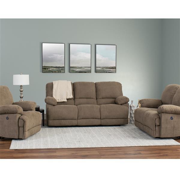 Chenille Fabric Power Recliner Sofa, Brown Fabric Recliner Sofa Set