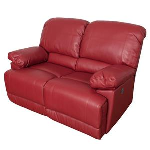 CorLiving Red Bonded Leather Power Reclining Loveseat