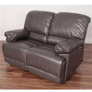 CorLiving Grey Bonded Leather Power Reclining Loveseat