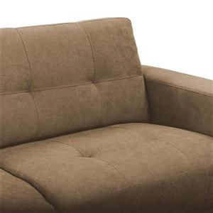 CorLiving Tufted Chenille Fabric Chair Sofa Set 3pc - Brown