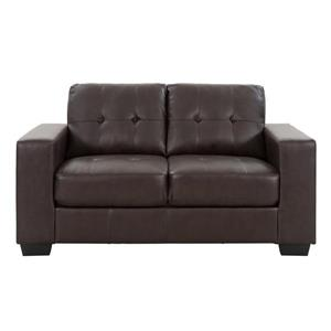 CorLiving Tufted Bonded Leather Sofa Set 3pc - Chocolate Brown