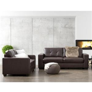 CorLiving Tufted Bonded Leather Sofa Set 2pc - Chocolate Brown
