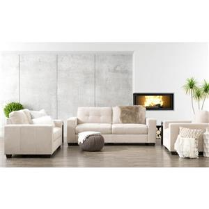 CorLiving Tufted Chenille Fabric Chair Sofa Set 3pc - Beige