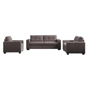 CorLiving Tufted Chenille Fabric Chair Sofa Set 3pc - Grey