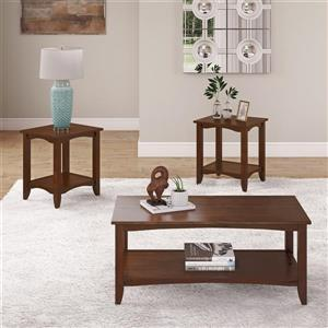 CorLiving 3pc Two-Tiered Coffee Table and End Tables Set