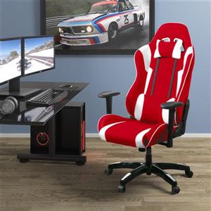 CorLiving High Back Ergonomic Gaming Chair - Red and White