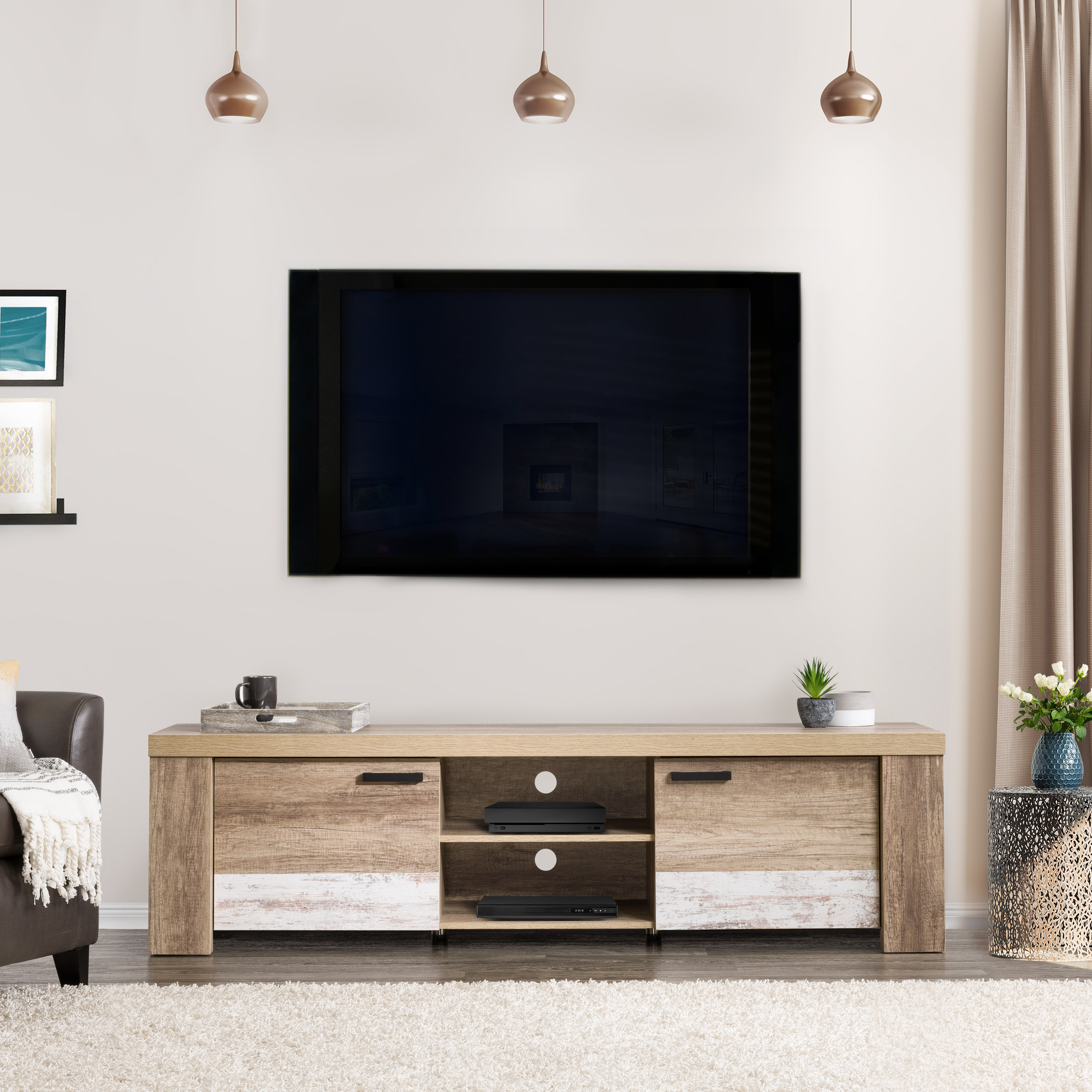 CorLiving LFF-401-B Distressed Warm Beige with White Duotone Chunky TV Bench for TVs up to 90