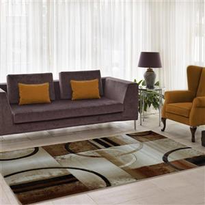La Dole Rugs®  Adonis Geometric European Area Rug - 5' x 8' - Beige/Brown
