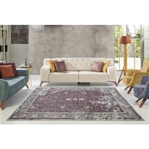 La Dole Rugs®  Abstract Garnet Contemporary Rug - 4' x 6' - Rose/Cream