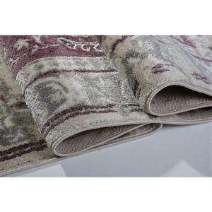 La Dole Rugs®  Abstract Garnet Contemporary Runner - 3' x 5' - Rose/Cream
