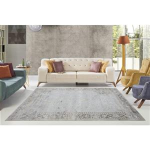 La Dole Rugs®  Abstract Garnet Contemporary Carpet - 4' x 6' - Cream/Grey