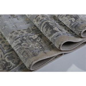 La Dole Rugs®  Abstract Garnet Contemporary Carpet - 7' x 10' - Cream/Grey