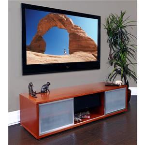 Plateau SR-V TV Stand - Walnut Finish/Silver Frame - 65-in W