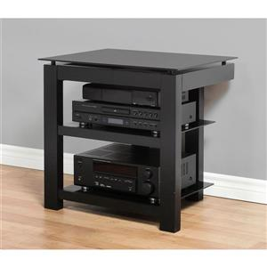 Plateau TV Stand - Black Satin / Black Glass - 26-in