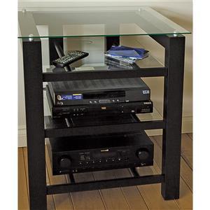 Plateau SL-4A Plateau Audio Stand - Black Satin / Clear Glass - 26-in