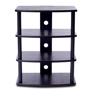 Plateau Audio Stand - Metal Frame / Black Oak Shelves - 23-in
