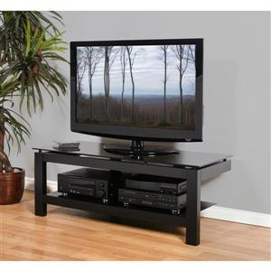 Plateau TV Stand - Black Satin/Black Glass - 50-in