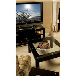 Plateau TV Stand - Black Satin / Clear Glass - 50-in