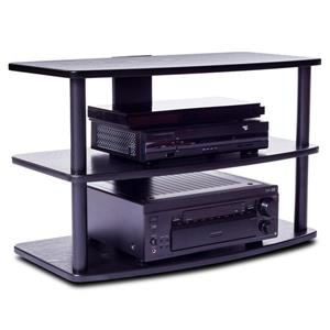 Plateau TV Stand - Metal Frame/Black Oak Shelves  - 32-in