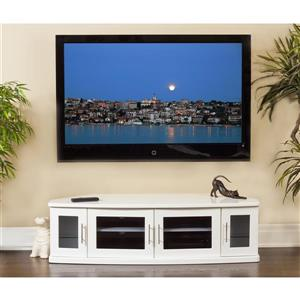 Plateau Newport TV Stand - White Wood - 62-in
