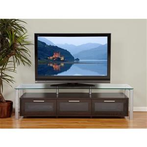 Plateau Decor TV Stand - Walnut/ Silver Frame/ Clear Glass - 71-in