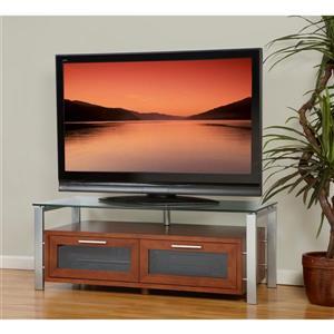Plateau Decor TV Stand - Espresso/ Silver Frame/ Black Glass - 71-in