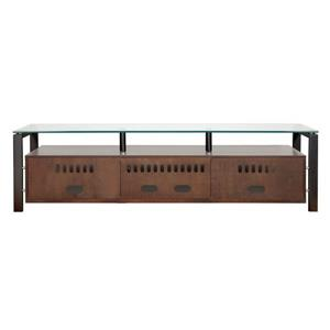 Plateau Decor TV Stand - Wood and Clear Glass - Walnut finish - 71-in