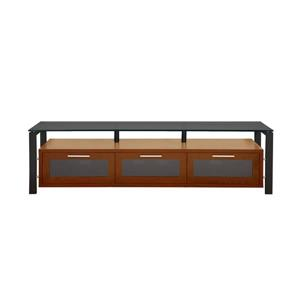 Plateau Decor TV Stand - Wood and Black Glass - Walnut - 71-in