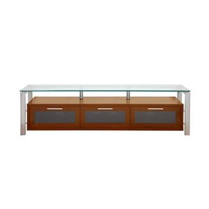 Plateau Decor TV Stand - Wood/Silver/Clear Glass - Walnut - 71-in