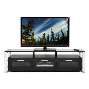 Plateau Decor TV Stand - Wood/Metal/Black Glass - Black finish - 71-in