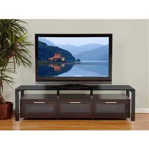 Plateau Decor TV Stand - Wood/Metal/Black  Glass - Espresso - 71-in