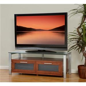 Plateau Decor TV Stand - Wood/Metal/Clear Glass - Espresso - 71-in