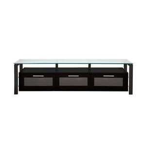 Plateau Decor TV Stand - Wood/Metal/Clear Glass - Black Oak - 71-in
