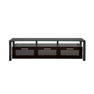 Plateau Decor TV Stand - Wood/Metal/Black Glass - Black Oak - 71-in