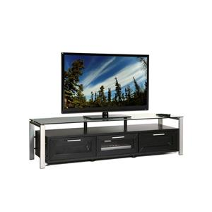 Plateau Decor TV Stand - Wood/Silver/Glass - Black Oak Finish - 71-in