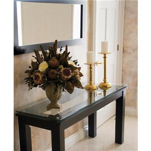 Plateau Accent Table - Black Satin/Black Glass - 54-in x 16-in