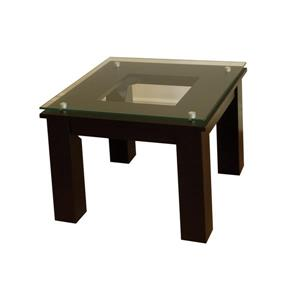 Plateau Accent Table - Black Satin and Clear Glass - 19-inx19-in